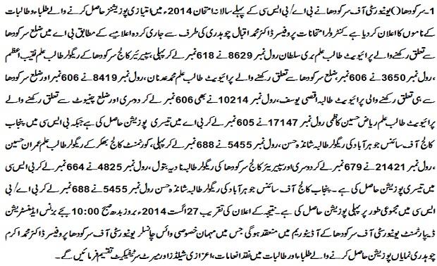 Sargodha University BA / BSc Annual Result 2014 announced