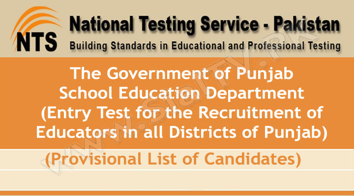 Educators Jobs in Punjab NTS Entry Test Provisional List of Candidates