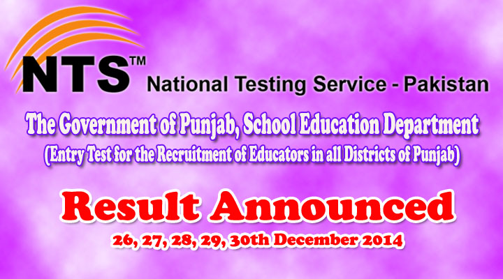 Punjab Educators NTS Test Result announced