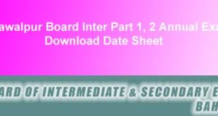 BISE Bahawalpur Board Inter Datesheet 2015