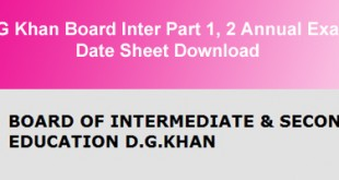 BISE DG Khan Board Inter Datesheet 2015
