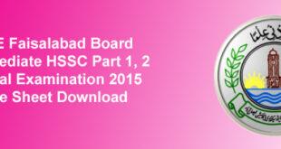 BISE Faisalabad Board Inter Datesheet 2015