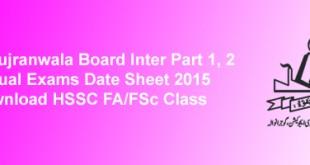 BISE Gujranwala Board Inter Datesheet 2015