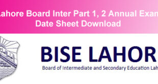 BISE Lahore Board Inter Datesheet 2015