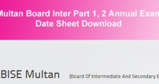 BISE Multan Board Inter Datesheet 2015