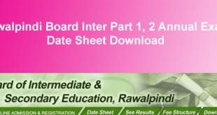 BISE Rawalpindi Board Inter Datesheet 2015