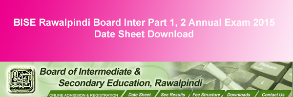 BISE Rawalpindi Board Inter Datesheet 2015