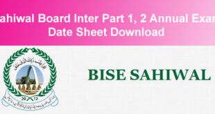 BISE Sahiwal Board Inter Datesheet 2015