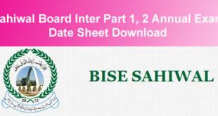 BISE Sahiwal Board Inter Datesheet 2015