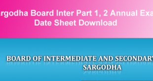 BISE Sargodha Board Inter Datesheet 2015