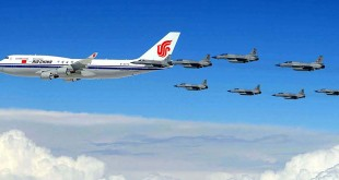 JF-17 Thunder Escorting Chinese President's Plane