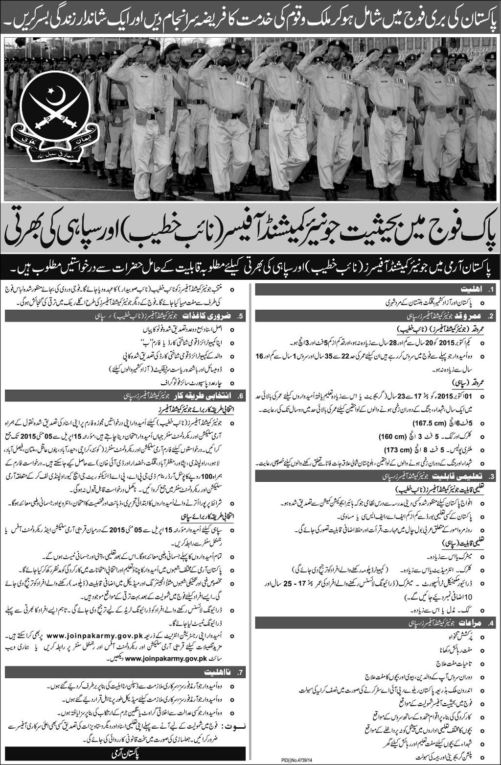 Join Pakistan Army as Soldier, Cook, Clerk, Military Police