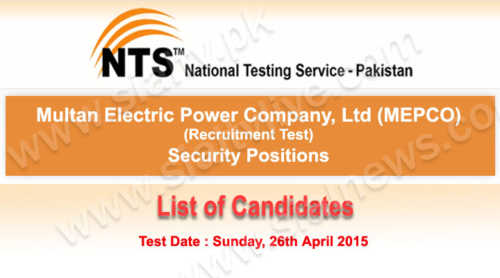 Mepco Multan Security Positions NTS Test List of Candidates