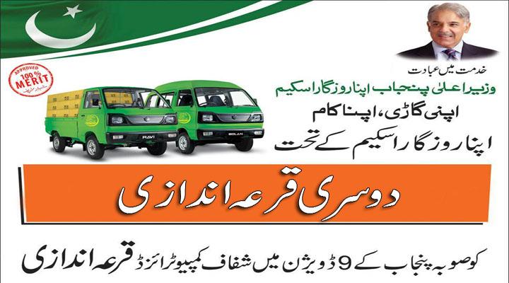 Shahbaz Sharif Apna Rozgar Scheme 2014-15 2nd Draw Result