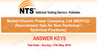 Mepco Multan NTS Test Answer Keys