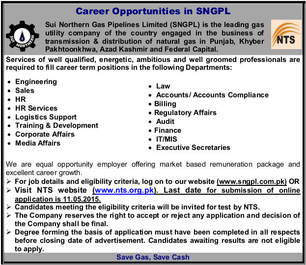 SNGPL Jobs 2015 Advertisement