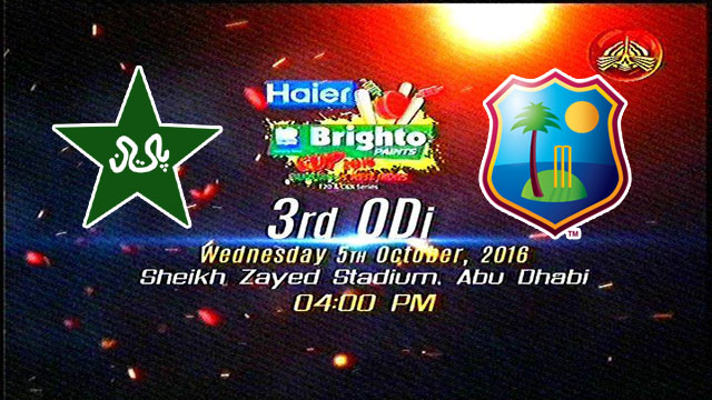 Pakistan vs West Indies 3rd ODI Match Live