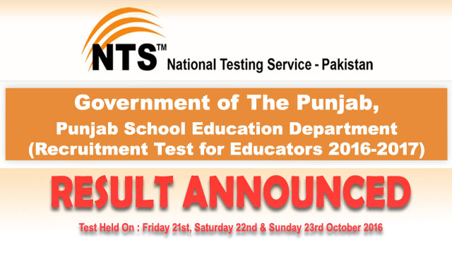 Punjab Educators NTS Test Results October 2016