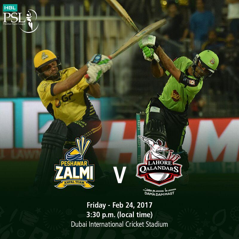 Peshawar Zalmi vs Lahore Qalandars PSL Live Match 24 February 2017