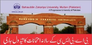 BA B.Sc Annual Examination BZU Multan