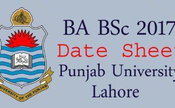 Punjab University Lahore Date Sheet 2017
