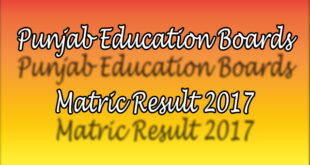 All Punjab Boards Matric 10th Class Result 2017 announced