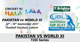 Pakistan vs World XI T20 Cricket Series 2017 Schedule & Fixtures