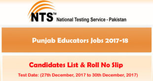 Punjab Educators Jobs 2017-18 NTS Test Roll No Slips Download