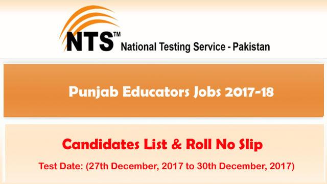 Punjab Educators Jobs 2017-18 NTS Test Roll No Slips Download
