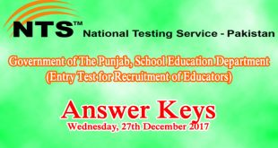 Educators NTS Entry Test Answer Keys 27th December 2017