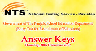 Punjab Educators ESE SESE SSE NTS Entry Test Answer Keys 28th December 2017
