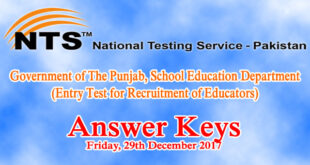 Punjab Educators NTS Entry Test Answer Keys 29th December 2017
