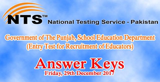 Educators NTS Entry Test Answer Keys 29th December 2017