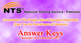 Punjab Educators AEO SESE NTS Entry Test Answer Keys 30th December 2017
