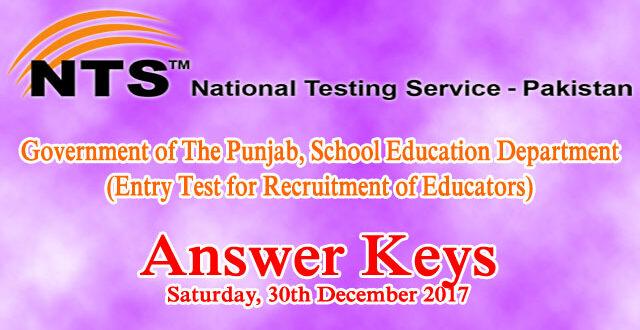 Educators NTS Entry Test Answer Keys 30th December 2017
