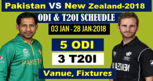 Pakistan vs New Zealand Cricket Series 2018 Schedule & Fixtures