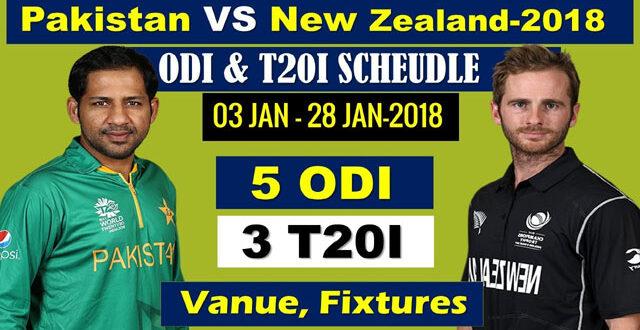 Pakistan vs New Zea Land Cricket Series 2018 Schedule