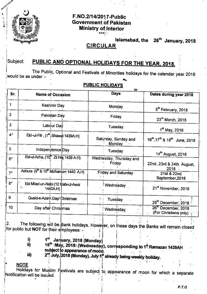Public Holidays 2018 Notification