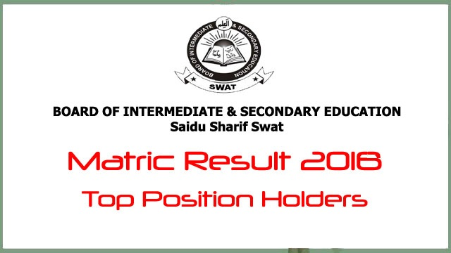 BISE Swat Board Top Position Holders Matric Result 2018