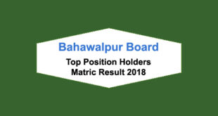 BISE Bahawalpur Board Matric Result 2018 Top Position Holders