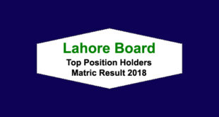 BISE Lahore Board Matric Result 2018 Top Position Holders