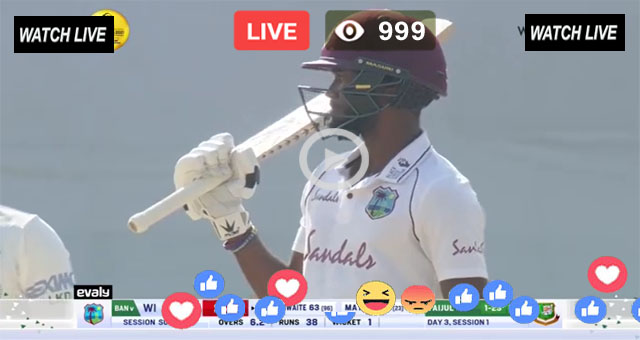 WI vs BAN 1st Test Day 3 T Sports Live